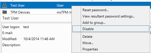 Disable user account using adac_1