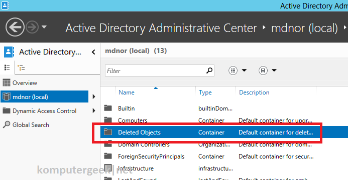 enable deleted object on 2012_6