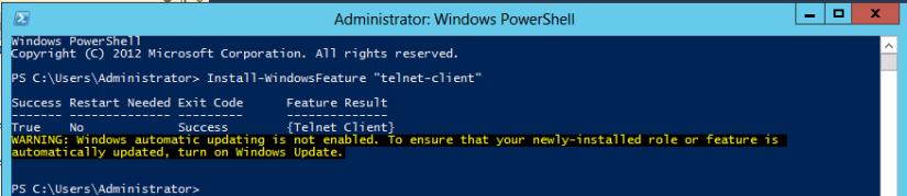 enable telnet client using powershell2